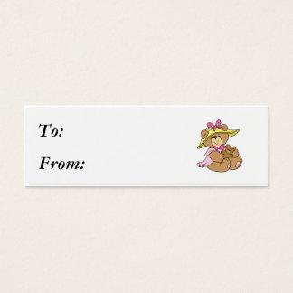 Cute Spring Bonnet Teddy Bear Mini Business Card