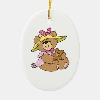 Cute SPring Bonnet Teddy Bear Double-Sided Oval Ceramic Christmas Ornament