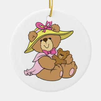 Cute SPring Bonnet Teddy Bear Double-Sided Ceramic Round Christmas Ornament