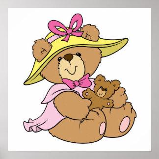 Cute SPring Bonnet Teddy Bear Poster