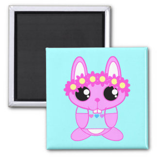 Cute Spring Bunny Rabbit 2 Inch Square Magnet
