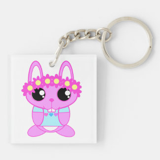 Cute Spring Bunny Rabbit Double-Sided Square Acrylic Keychain