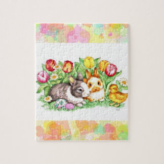 Cute spring Bunny's and duckling puzzle