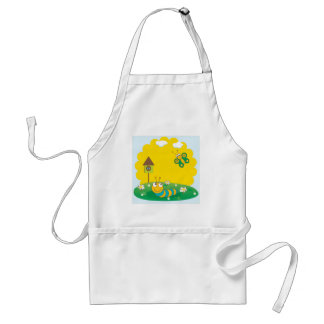 Cute spring card with caterpillar and butterfly. adult apron