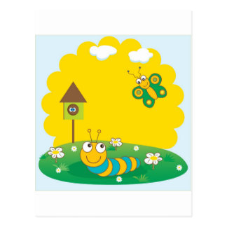 Cute spring card with caterpillar and butterfly postcard