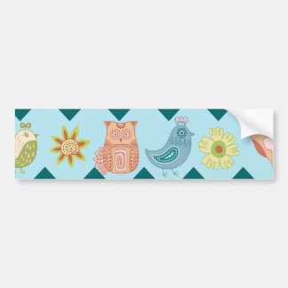 Cute Spring Chevron Whimsical Owls Birds Flowers Bumper Stickers