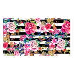 Cute spring floral and stripes watercolor pattern business card