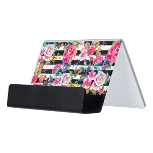 Cute business card holders zazzle cute spring floral and stripes watercolor pattern desk business card holder colourmoves
