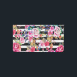 """Cute spring floral and stripes watercolor pattern checkbook cover<br><div class=""""desc"""">Cute spring floral and stripes watercolor pattern. This elegant, girly, boho chic, vibrant colorful blossom garden spring flowers, black stripes brush strokes, is perfect for everyday wear, special occasions, or celebrations. A collection of roses, leaves, stripes, in pink, blue, teal, yellow, purple, black, grey, white, and many other colors. Artistic,...</div>"""