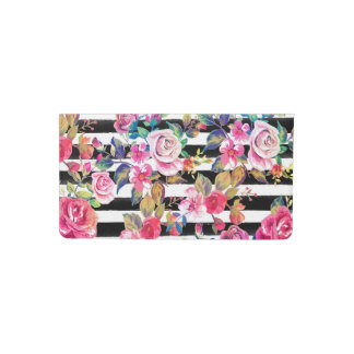 Cute spring floral and stripes watercolor pattern checkbook cover