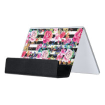 Cute spring floral and stripes watercolor pattern desk business card holder
