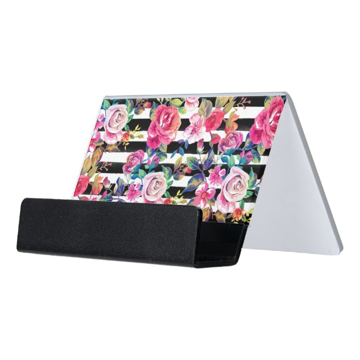 Cute spring floral and stripes watercolor pattern desk for Cute business card holders for desk