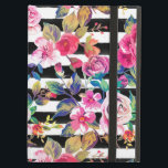 """Cute spring floral and stripes watercolor pattern iPad air case<br><div class=""""desc"""">Cute spring floral and stripes watercolor pattern. This elegant, girly, boho chic, vibrant colorful blossom garden spring flowers, black stripes brush strokes, is perfect for everyday wear, special occasions, or celebrations. A collection of roses, leaves, stripes, in pink, blue, teal, yellow, purple, black, grey, white, and many other colors. Artistic,...</div>"""