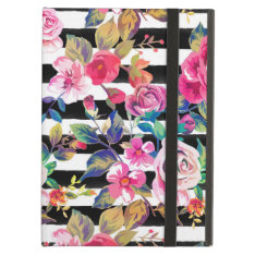 Cute Spring Floral And Stripes Watercolor Pattern Ipad Air Case at Zazzle