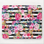 "Cute spring floral and stripes watercolor pattern mouse pad<br><div class=""desc"">Cute spring floral and stripes watercolor pattern. This elegant, girly, boho chic, vibrant colorful blossom garden spring flowers, black stripes brush strokes, is perfect for everyday wear, special occasions, or celebrations. A collection of roses, leaves, stripes, in pink, blue, teal, yellow, purple, black, grey, white, and many other colors. Artistic,...</div>"