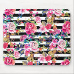 """Cute spring floral and stripes watercolor pattern mouse pad<br><div class=""""desc"""">Cute spring floral and stripes watercolor pattern. This elegant, girly, boho chic, vibrant colorful blossom garden spring flowers, black stripes brush strokes, is perfect for everyday wear, special occasions, or celebrations. A collection of roses, leaves, stripes, in pink, blue, teal, yellow, purple, black, grey, white, and many other colors. Artistic,...</div>"""