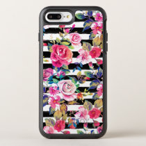 Cute spring floral and stripes watercolor pattern OtterBox symmetry iPhone 7 plus case