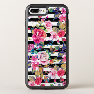 Cute spring floral and stripes watercolor pattern OtterBox symmetry iPhone 8 plus/7 plus case