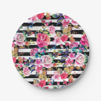 Cute spring floral and stripes watercolor pattern paper plate
