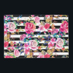 """Cute spring floral and stripes watercolor pattern placemat<br><div class=""""desc"""">Cute spring floral and stripes watercolor pattern. This elegant, girly, boho chic, vibrant colorful blossom garden spring flowers, black stripes brush strokes, is perfect for everyday wear, special occasions, or celebrations. A collection of roses, leaves, stripes, in pink, blue, teal, yellow, purple, black, grey, white, and many other colors. Artistic,...</div>"""