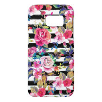 Cute spring floral and stripes watercolor pattern samsung galaxy s7 case