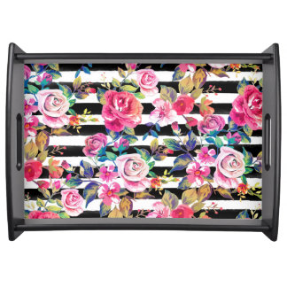 Cute spring floral and stripes watercolor pattern serving tray