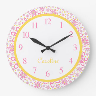 Cute Spring Floral Yellow & Pink Wall Clock