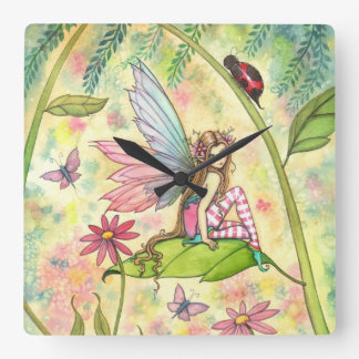 Cute Spring Flower Fairy and Ladybug Square Wall Clock