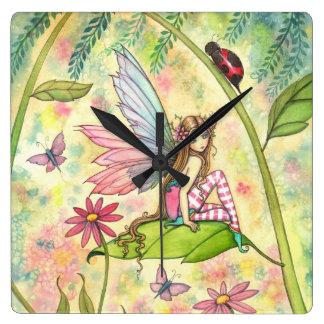 Cute Spring Flower Fairy and Ladybug Wall Clock