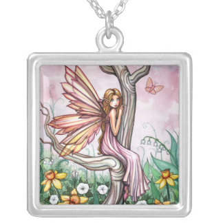 Cute Spring Flower Fairy in the Daffodils Necklace