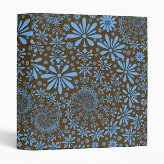 Cute Spring Flowers Blue and Brown Binder
