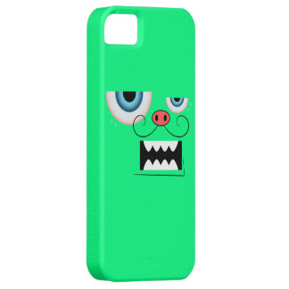 Cute Spring Green Mustache Monster Emoticon iPhone 5 Case