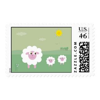 Cute spring lambs stamp