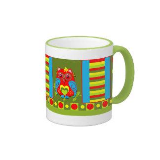 Cute Spring mug with cartoon Owls