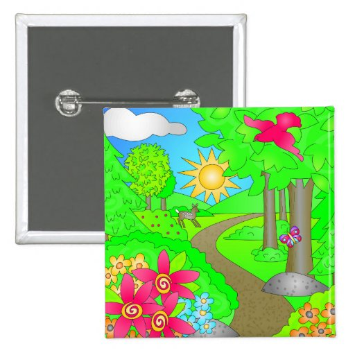 Cute Spring Naute Scene 2 Inch Square Button