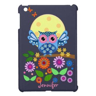 Cute spring Owl & custom Name Case For The iPad Mini