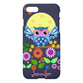 Cute spring Owl & custom Name iPhone 7 Case