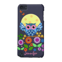 Cute spring Owl & custom Name iPod Touch 5G Cover
