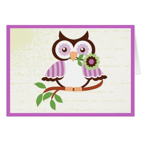 Cute spring owl holding a flower in her beak card