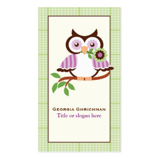 Cute spring owl on a branch, green plaid border business card