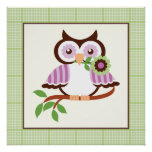 Cute spring owl on a branch poster print