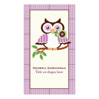 Cute spring owl on a branch, purple plaid border business card template