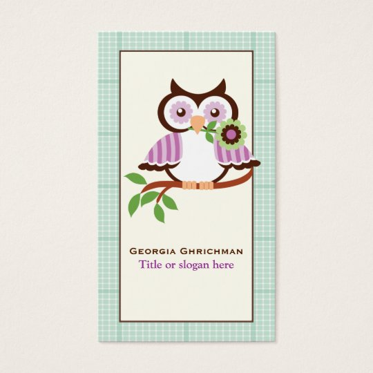 Cute spring owl  with mint green plaid border business card