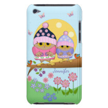 Cute spring owls and custom name Case-Mate iPod touch case