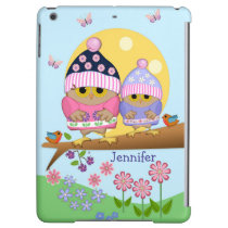 Cute spring owls and custom name cover for iPad air