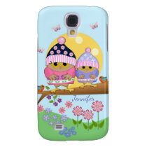 Cute spring owls and custom name samsung galaxy s4 case