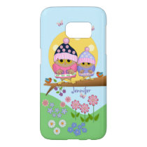 Cute spring owls and custom name samsung galaxy s7 case