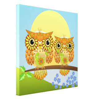 Cute Spring Owls on a branch Canvas Print