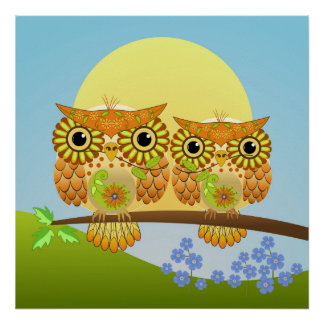 Cute Spring Owls on a branch Poster