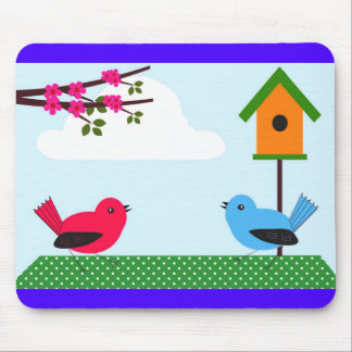 Cute Spring & Summer Birds, Blossoms & Bird House Mouse Pad